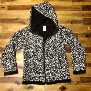 Girls Cheetah Print Fleece Hooded Jacket Size 7/8